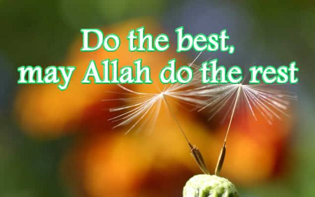 do the best may Allah do the rest