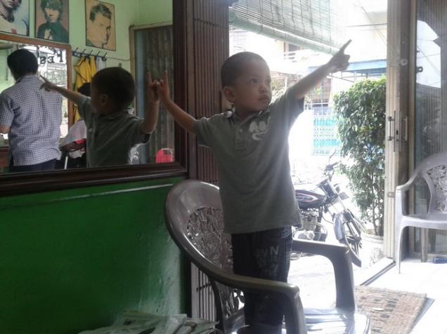 my son in barbershop