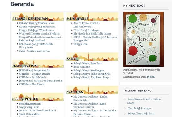 Halaman Depan Blog Jejak-jejak yang Terserak
