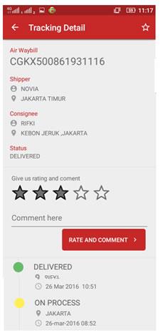 aplikasi my jne - cek status pengiriman 2